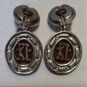 Vintage Karl Lagerfeld earrings with copper logo